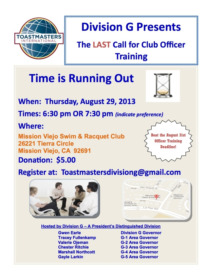 Last Call Office Training for Division G on Aug 29th 2013