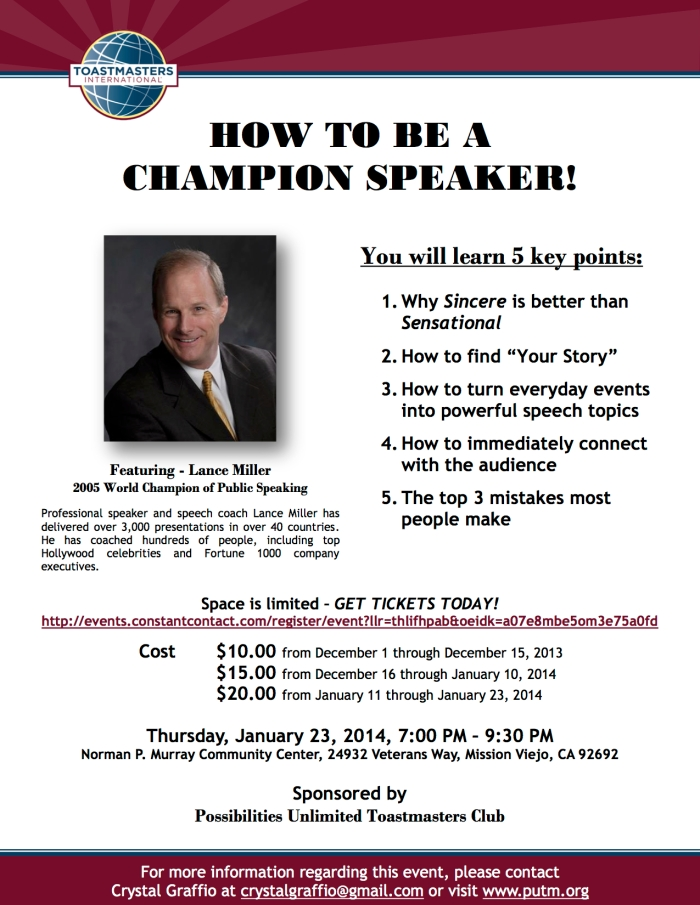 Special Event: Lance Miller - How to be a Champion Speaker!
