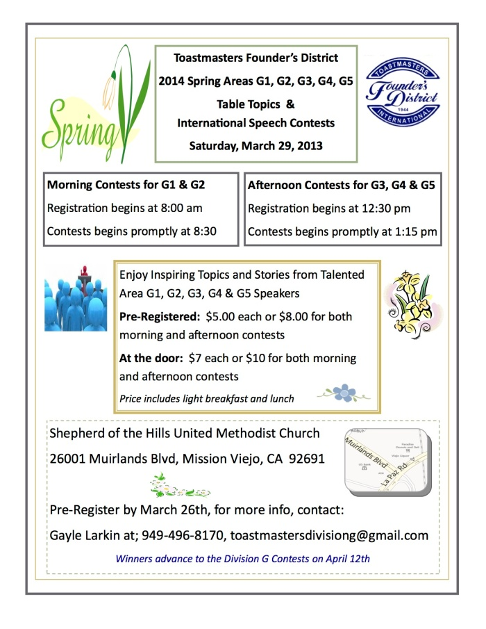 Division G Area Spring Contests 022014